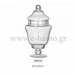 Διακοσμητική Γυάλα με Καπάκι Διάσταση: Φ15 Χ 30 cm