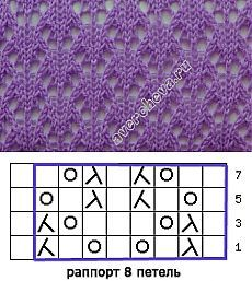 This 8-st x 8-row pattern looks like pretty little fish ~~ узор.