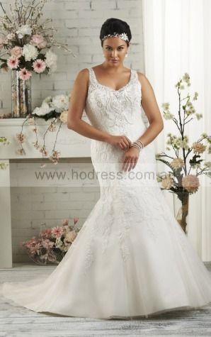 Sleeveless Buttons Tulle Shoulder Straps Mermaid Wedding Dresses fycf1098--Hodress
