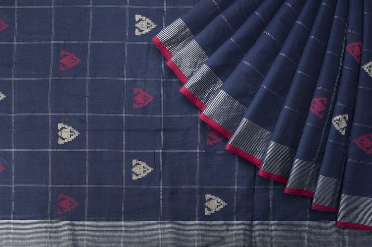 Ssaha Handwoven Jamdani Khadi Cotton Sari 1018730 - Curatorials / Shades of Navratri - Parisera