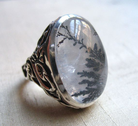 Serpentine Leaf Ring in Dendritic Quartz and Sterling Silver by LuraJewelry