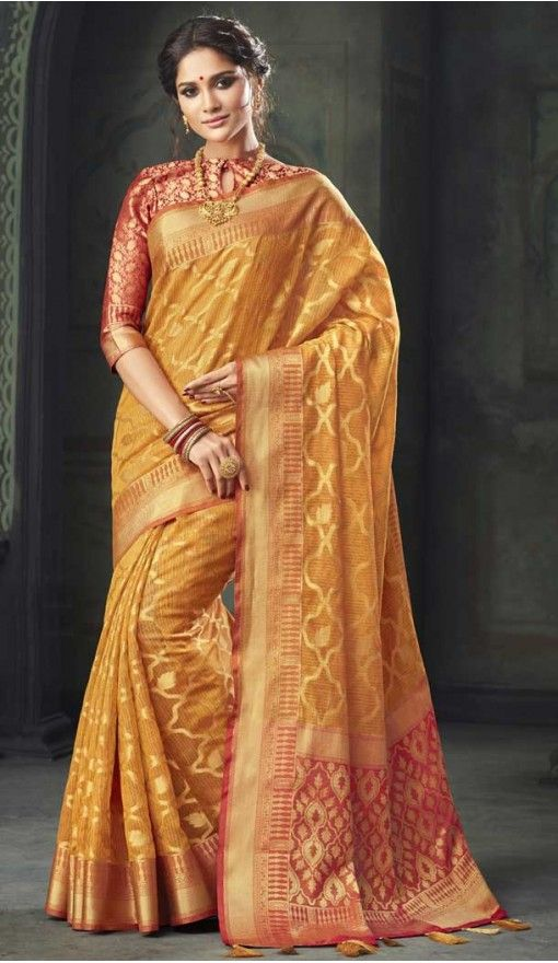 abd3fd4268 Exotic Gold Color Kota Silk Woven Casual Saree   376244924 #silk #sarees  #saris