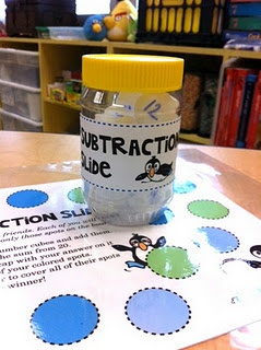 """Subtraction game - """"Slide"""" add 2 numbers and subtract from 20; need bottle caps- I love math games! :)"""