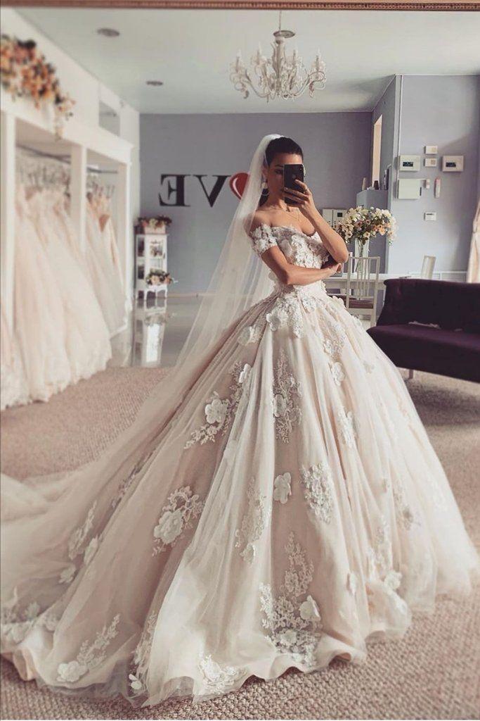 Appliques Flowers Princess Wedding Dresses Off The Shoulder Wedding Dress Styles Chart Ball Gowns Wedding Gown Wedding Dress