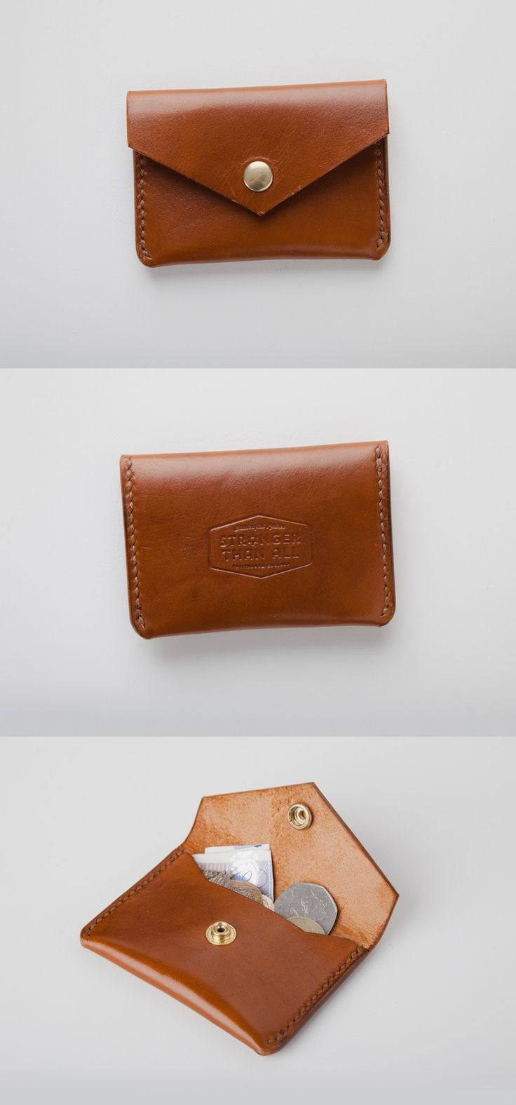 Congac Handmade Leather Snap Wallet by Stronger Than All