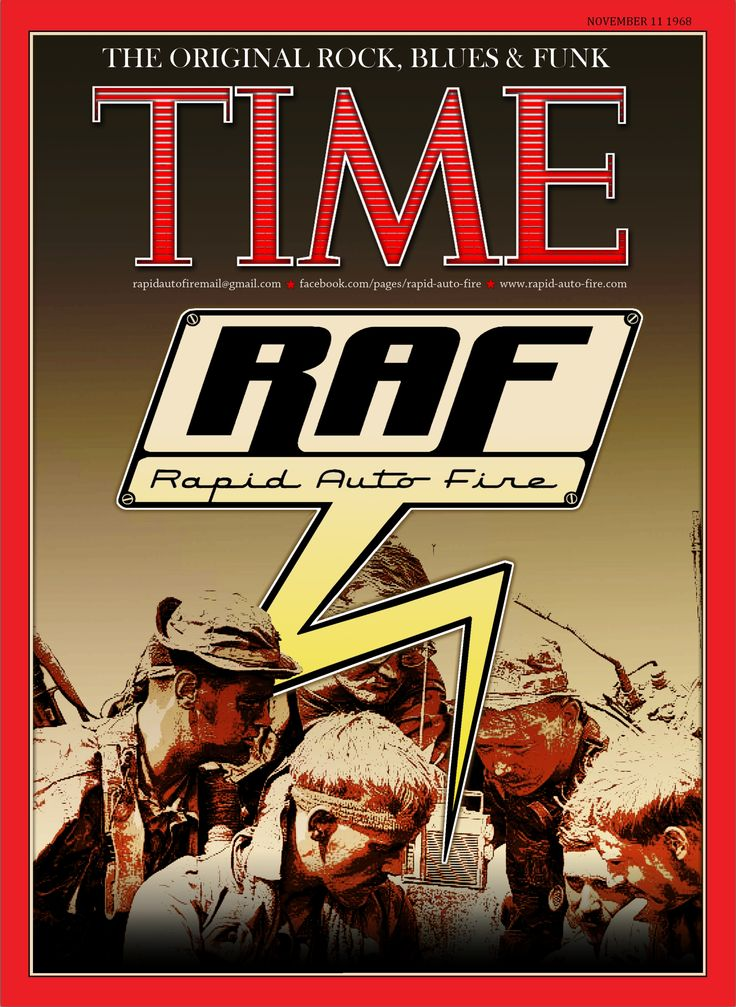 E-Flyer/Poster for the band Rapid Auto Fire parodying a Time Magazine cover. (Copyright: MoFo Graphic Rock (mofographicrock@gmail.com))