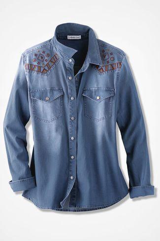 ceb8f3c661 Western Skies Denim Shirt, Light Wash   Női ruhák   Ruhák, Női ruhák