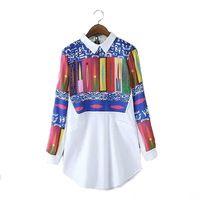 Женщины печати мода длинные блузки старинные отложным воротником рубашки с длинным рукавом Blusas Femininas повседневная рабочая одежда топы LT529
