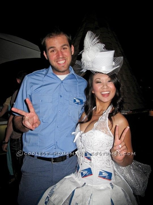 Coolest Mail-Order Bride and Mailman Couple Costume... This website is the Pinterest of funny Halloween costumes