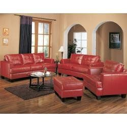 Leather Sofa Set   4 Piece In Red Leather   Coaster By Coaster Home  Furnishings.