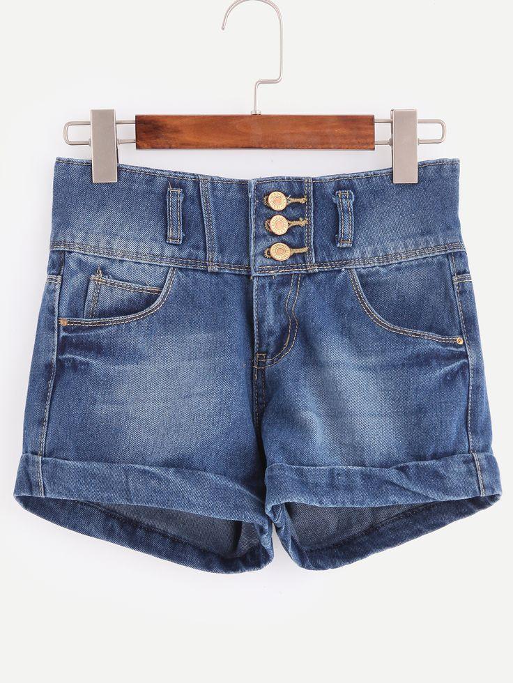 Shop Blue High Waist Single-breasted Cuffed Denim Shorts online. SheIn offers Blue High Waist Single-breasted Cuffed Denim Shorts & more to fit your fashionable needs.