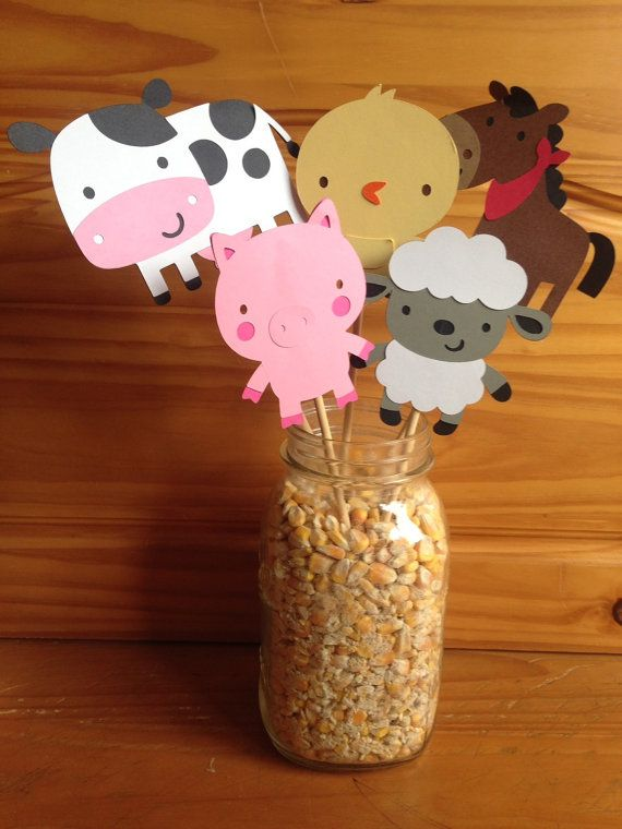 Farm theme party centerpiece by CarvedOakFarm on Etsy