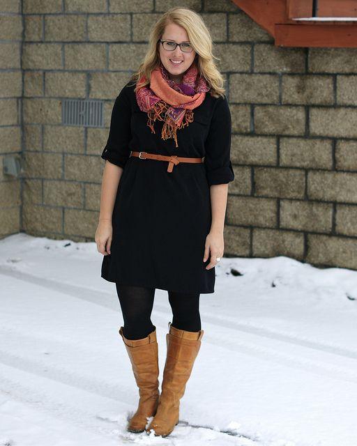 black dress brown accessories scarf via franish fall