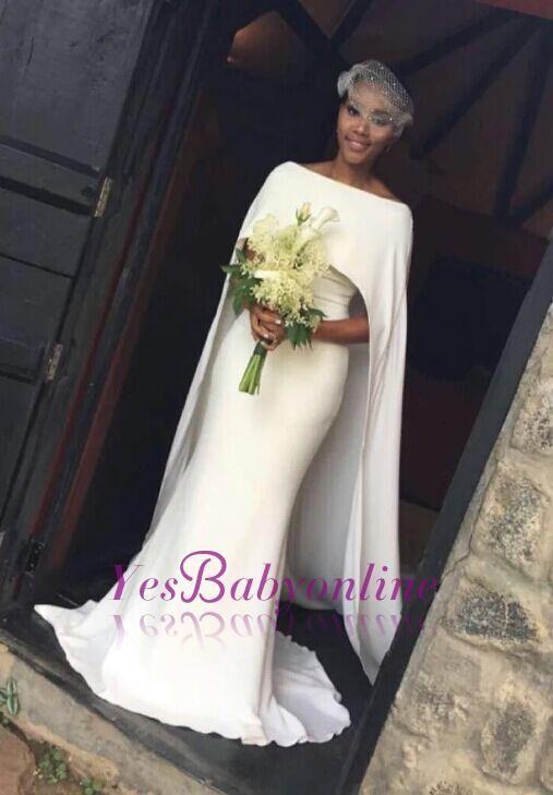 Elegant Mermaid Wedding Dresses with Long Cape Bateau Neck Plain Bridal Gowns Item Code: MM0002-BA7672