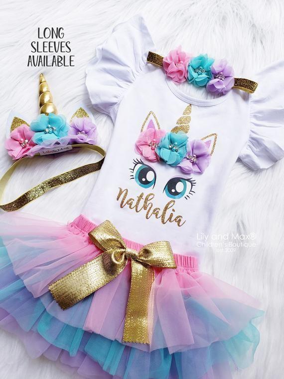 Unicorn Princess Birthday Party,Pastel Rainbow Tutu,Unicorn Horn Headband,Rainbow Tutu,Pink and Gold Unicorn,Unicorn Headband,1st Birthday
