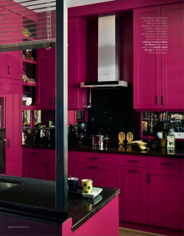 Bright pink kitchen cabinets (I don't like the black), this would look great with white accents.