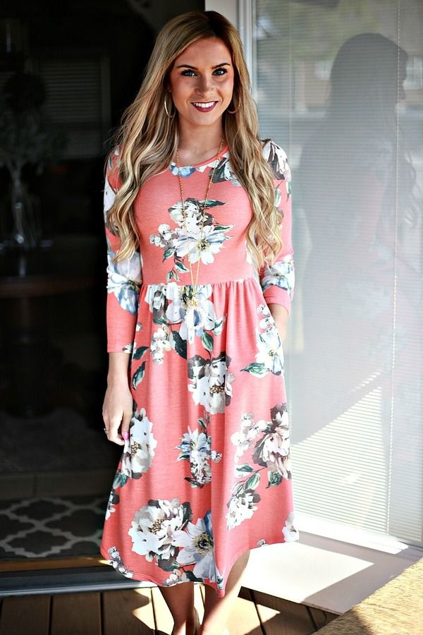 8a2e0cad5636 Best Day Ever Floral Midi Dress: Coral in 2019 | The Best of ...