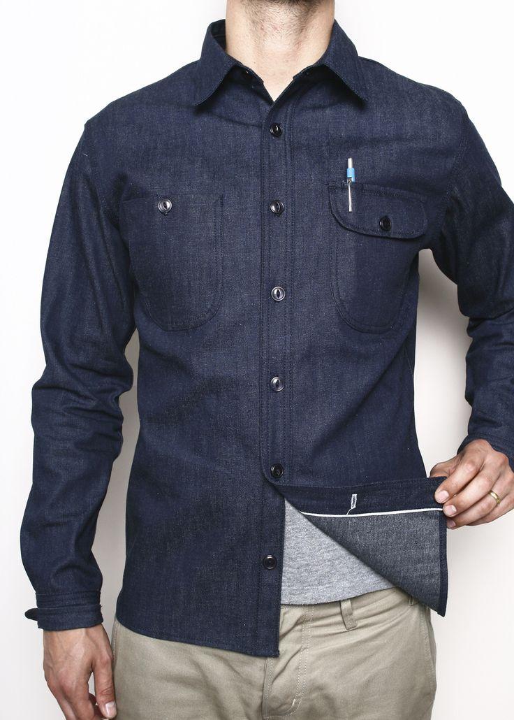 Raw Denim Selvedge Denim Work Shirt