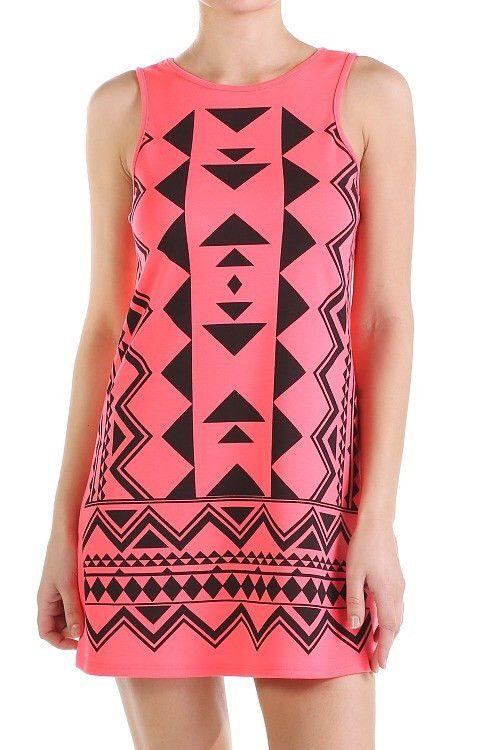 Neon Coral Aztec Dress
