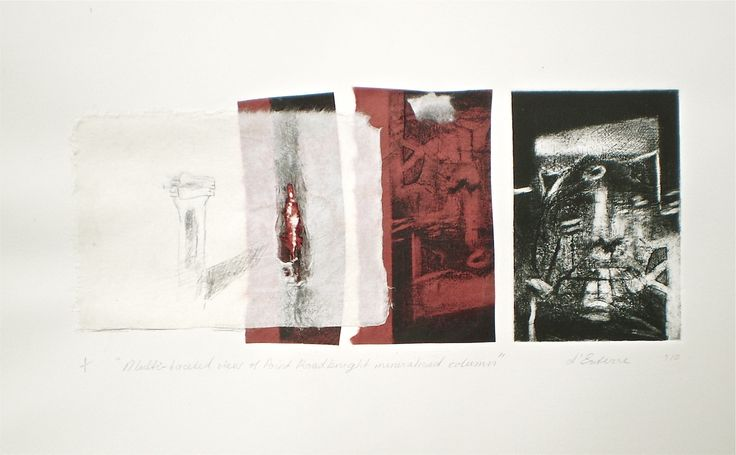 ELAINE d'ESTERRE - Mineralised Columns,1/1, 2010, intaglio, collage and graphite 13x30 cm print, 35x50 cm paper, by Elaine d'Esterre at elainedesterreart.com and www.facebook.com/elainedesterreart/ and http://instagram.com/desterreart/