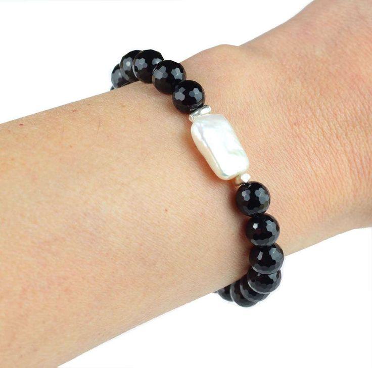 Statement Beaded Bracelet, Elegant Black Bracelet, Black Onyx Bracelet, Protection Bracelet, Wife Black Jewelry, Gift for Her, Gift for Mom by ILgemstones on Etsy