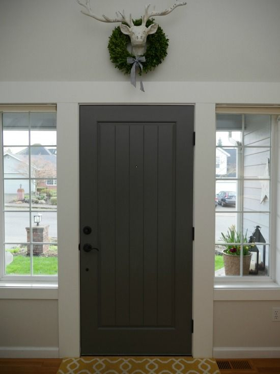 painted front door with benjamin moore kendall charcoal - wall color: BM classic gray - at home in the northwest blog