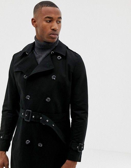 02133c34b ASOS DESIGN shower resistant longline trench coat with belt in black   ASOS