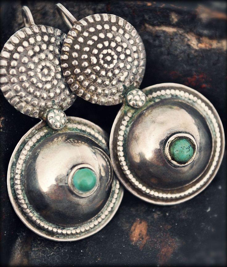 Rajasthan Tribal Silver Turquoise Earrings by COSMIC NORBU
