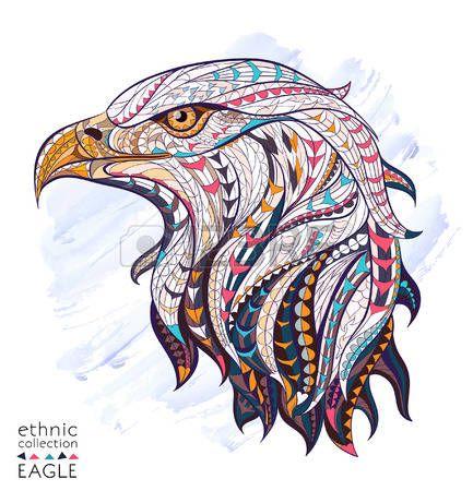 aquila: Patterned testa di aquila su sfondo acquerello. Africano  disegno  totem…