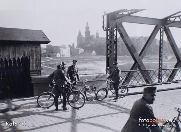 Stary Most Dębnciki (Most kolejowy), Kraków - 1944 rok, stare zdjęcia