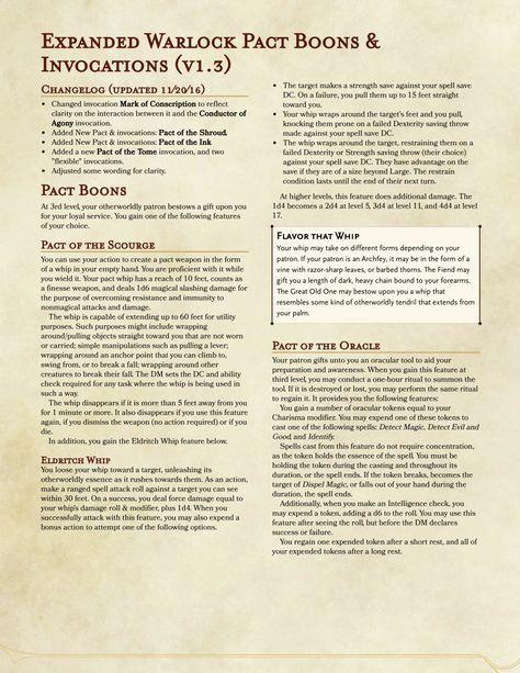 Warlock pacts 5e