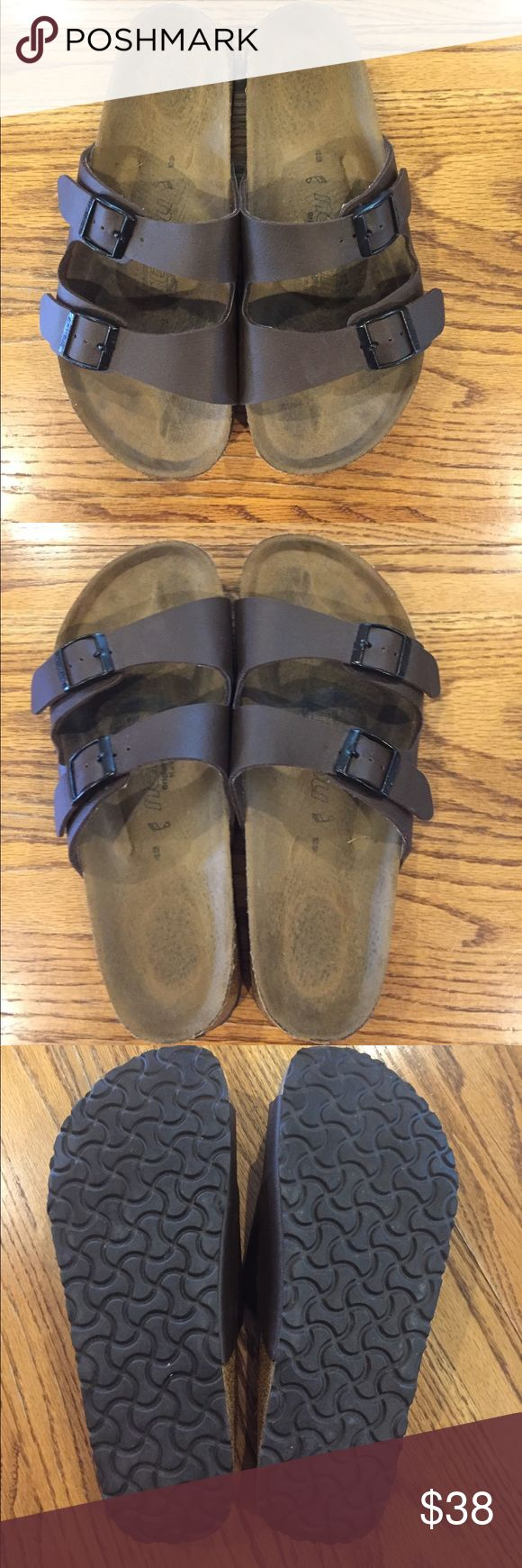 Birkenstock (Newalk) sandals Birkenstock Newalk dark brown leather sandals. Size 43. I bought these for my husband and he didn't like them. He did wear around the house with socks to try and get used to them. Thanks for looking. Birkenstock Shoes Sandals