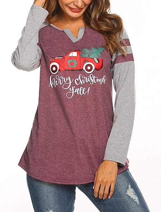 3beea808b58e Locryz Women Merry Christmas Baseball T-Shirt Long Sleeve Letters Print V  Neck Casual Tees S Christmas 2