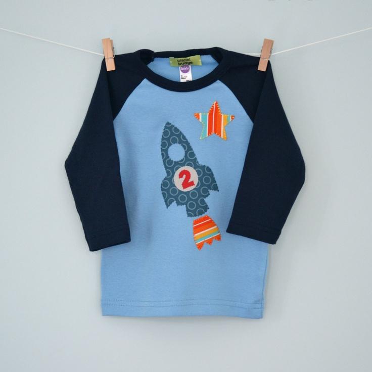Rocket Birthday Shirt, Toddler and Kids Blue Baseball T-shirt. $28.00, via Etsy.