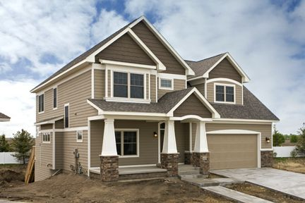 Exterior colors Brown trim and New construction on Pinterest