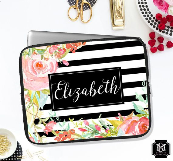 Personalized Laptop Sleeve Custom Computer by BoutiqueMonogram