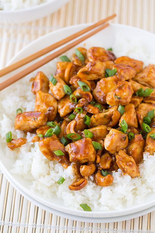 Cashew Chicken - this only takes about 25 minutes to make and it's delicious! Only uses 2 Tbsp oil.