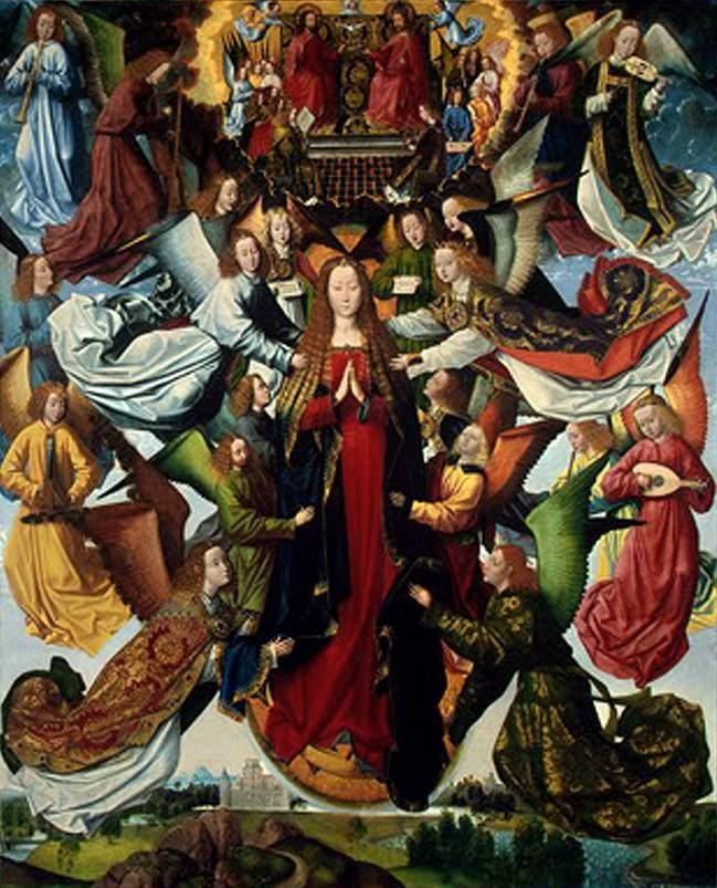 MASTER OF THE ST LUCY LEGEND, 1480-1489:  Virgin Mary, Queen of Heaven. Oil on panel, 215'9 x 185'4.