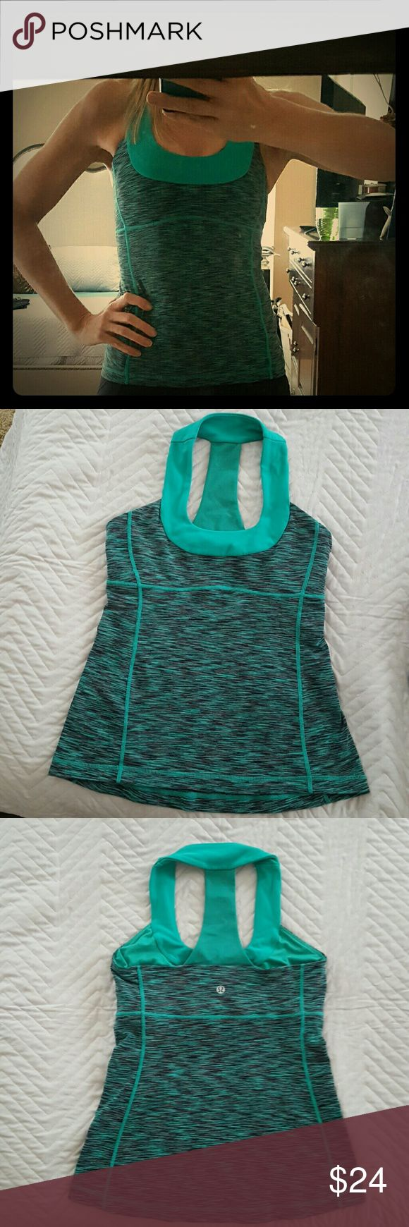 Lululemin Racer-back Scoop-neck Tank Top Great tank worn a handful of times. Mesh racerback with a built in bra and place for pads. lululemon athletica Tops Tank Tops