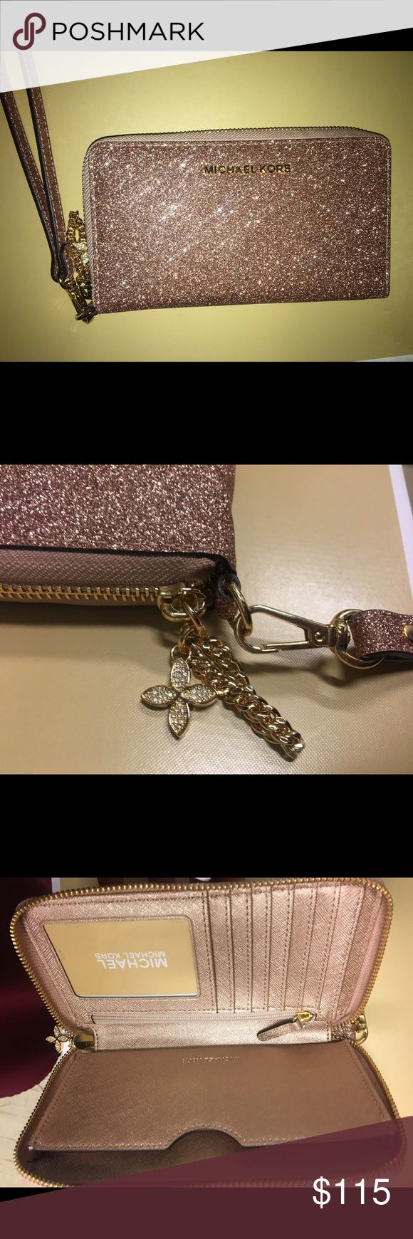New MK wallet , not even out yet. Rose glittery gold, the gold charm adds cost to it KORS Michael Kors Bags Clutches & Wristlets