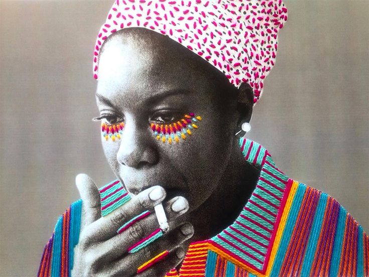 """Mexican artist Victoria Villasana uses traditional embroidery techniques to apply colorful flourishes and motifs to vintage photographs of celebrities. """"Criss-crosses of color and bright highlights around the eyes seem to lend a sense of empowerment to the works which often depict feminist icons from singer Nina Simone to artist Frida Kahlo. Villasana also takes her works into the streets and creates hybrid yarn bomb paste-ups from small stickers to entire murals."""" More ..."""
