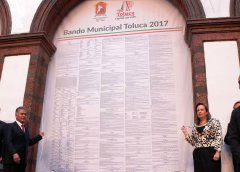 Promulga H. Ayuntamiento de Toluca Bando Municipal 2017
