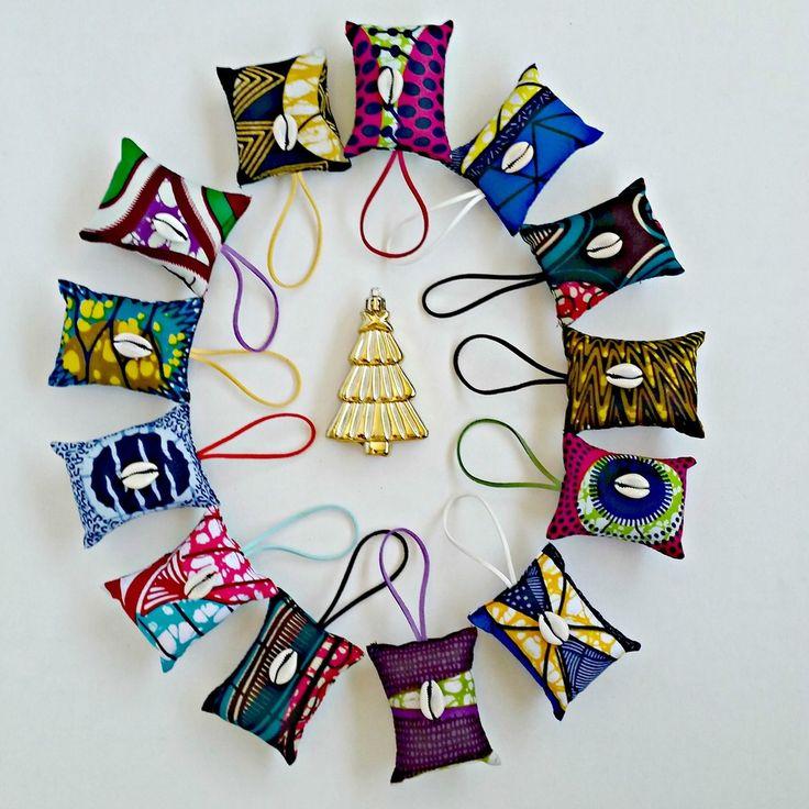 Ankara/African Dutch Wax holiday ornaments! Shop reflektiondesign.com