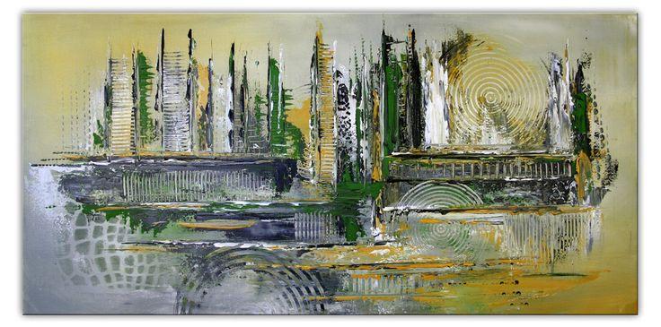 Acrylmalerei - Leinwandbild Grün ocker querformat abstrakt Bilder - ein #Original #Gemälde von burgstallers-art-Leinwandbild  Grün ocker #querformat #abstrakt #Bilder #originalpainting