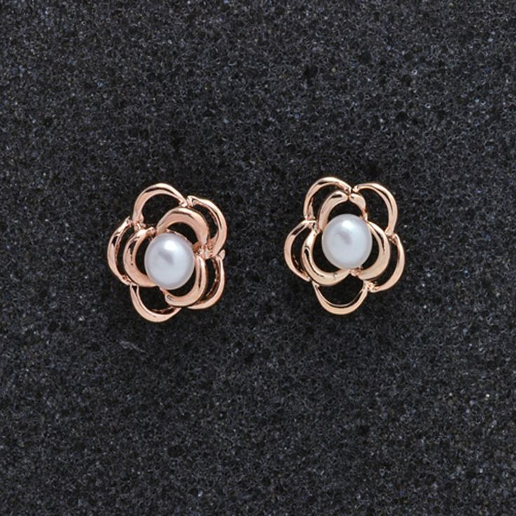 Fashion jewelry New rose gold plated pearl flower stud gift  for women girl wholesale E2621
