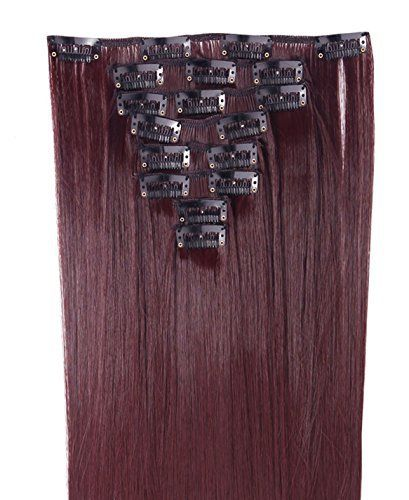 S-noilite – 8 Extensions 58 cm cheveux lisses et souples à clipser – extensions cheveux clips naturel-vin rouge: Feature: 8 mèches par…