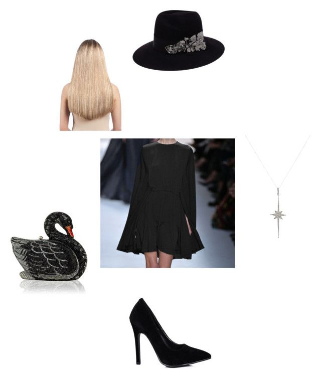 Готическое платье by hellahamalainen on Polyvore featuring Valentino, Judith Leiber, Feathered Soul, Maison Michel, Extension Professional, women's clothing, women's fashion, women, female and woman