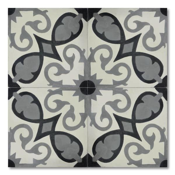 Agadir Royal Grey Handmade Moroccan 8 x 8 inch Cement and Granite Floor or Wall Tile (Case of 12)