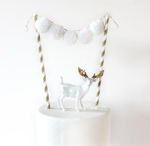 Pom Pom cake topper, pom pom garland, party, wedding, birth, colorful, gold, white, christmas
