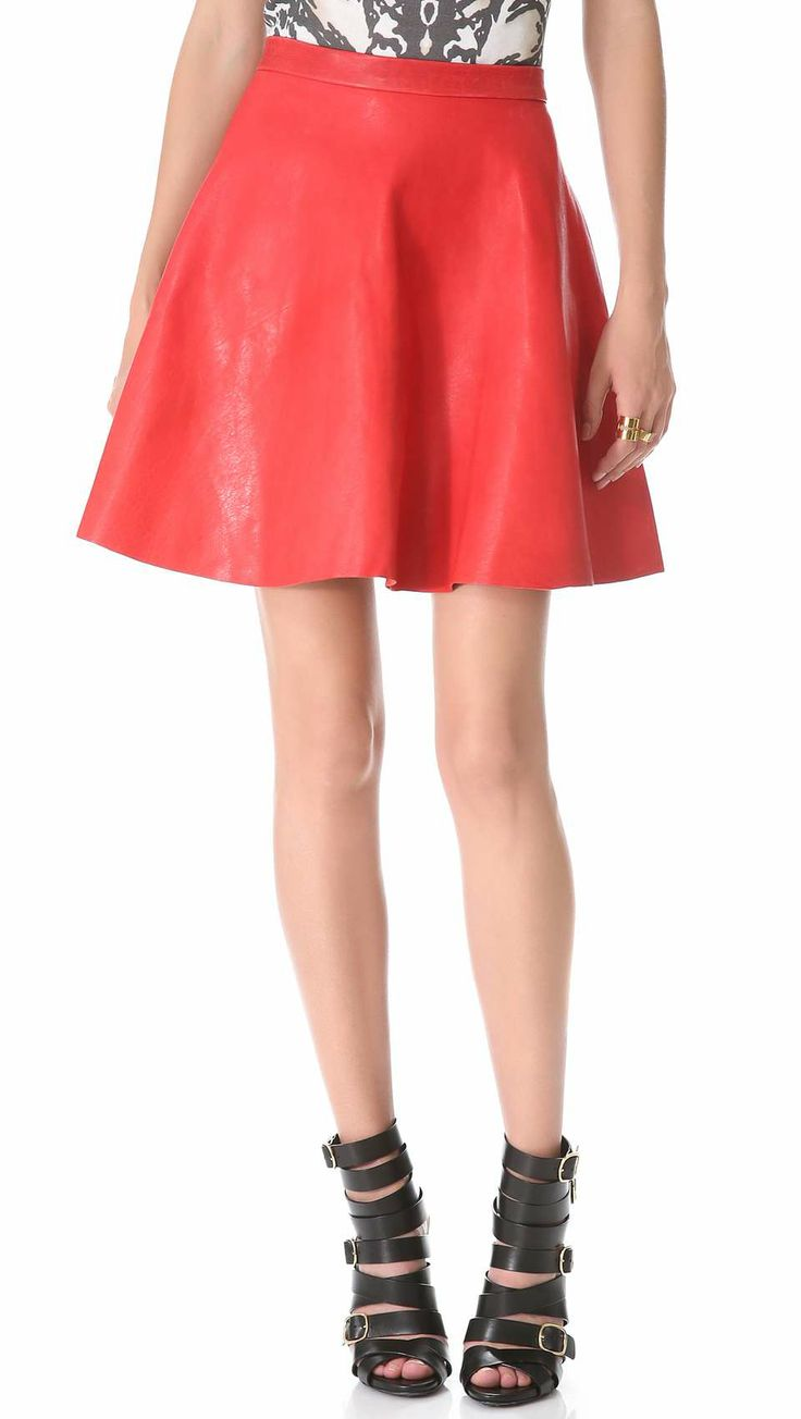 Sally Lapointe A Line Leather Skirt on Wantering | Neon Love | womens neon coral short leather skirt | fashion | trends | style | wantering http://www.wantering.com/womens-clothing-item/a-line-leather-skirt/ad5gG/